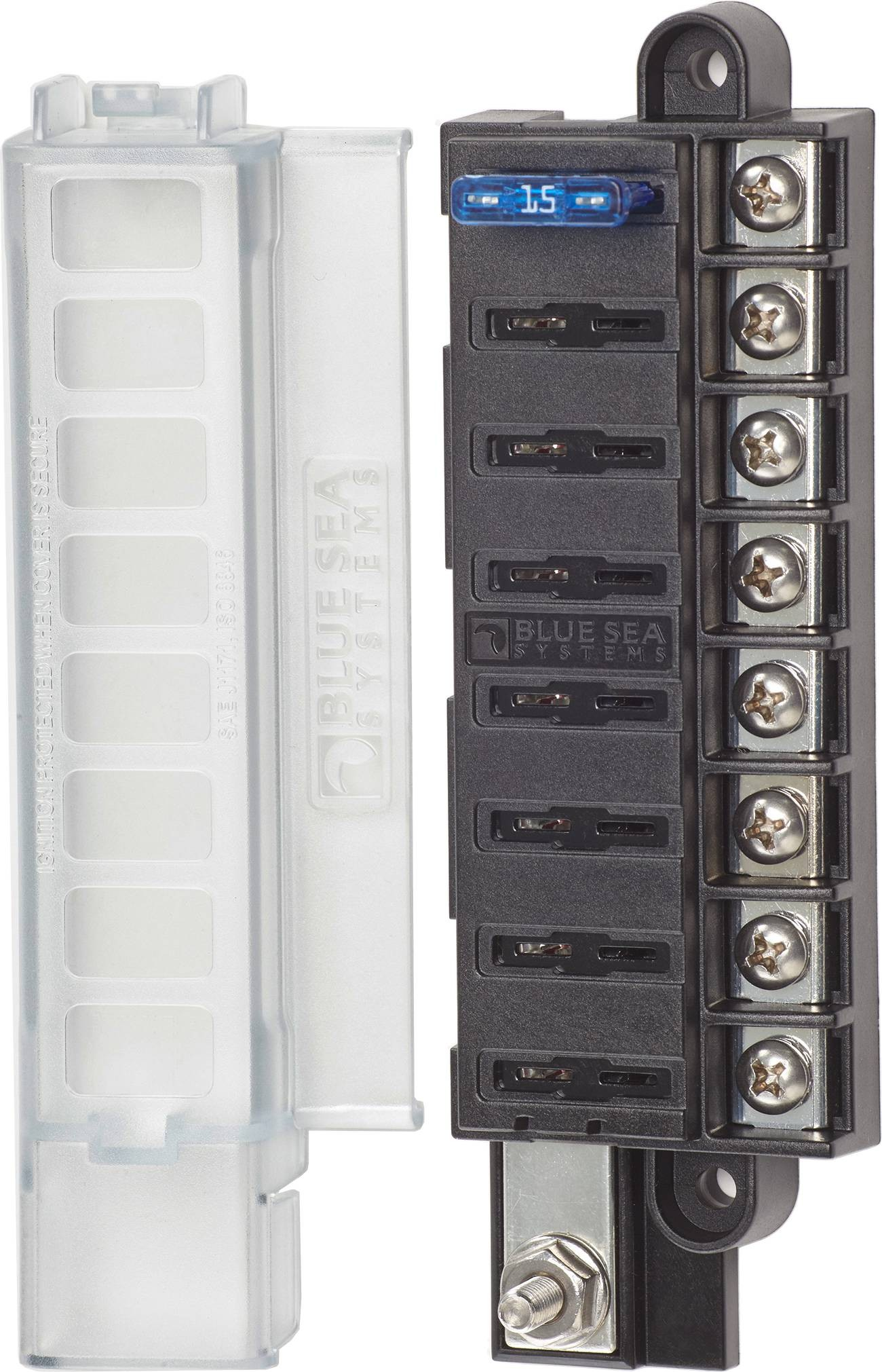 BlueSea fuse box with cover for 8 blade-type fuses