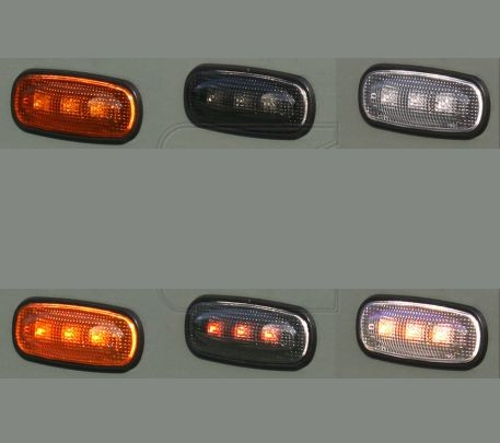 LED side indicator light for Defender, orange, black or white