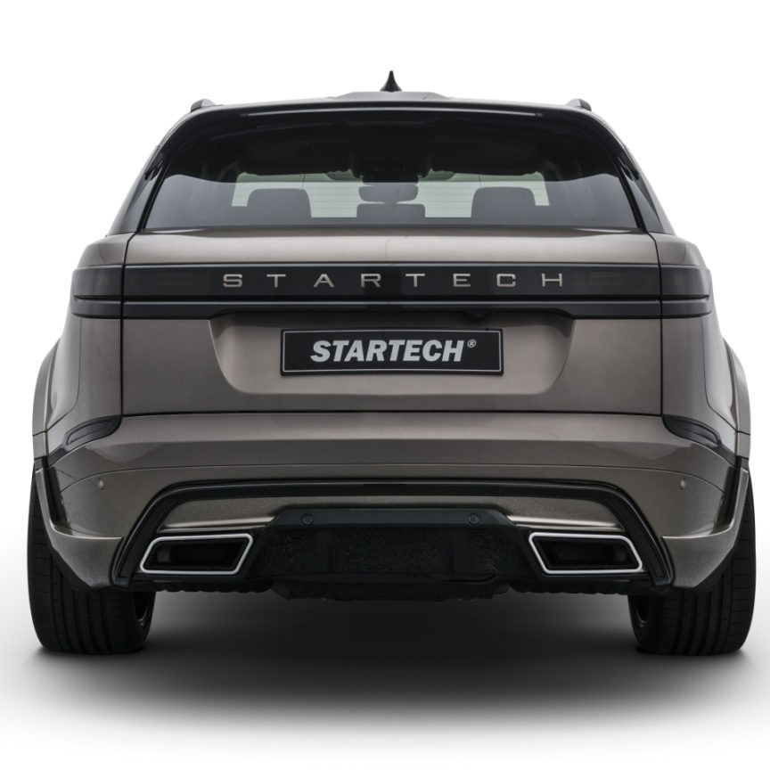 STARTECH Rear bumper insert element, PUR R-RIM, including 4 integrated exhaust tips in silver or black for Range Rover Velar