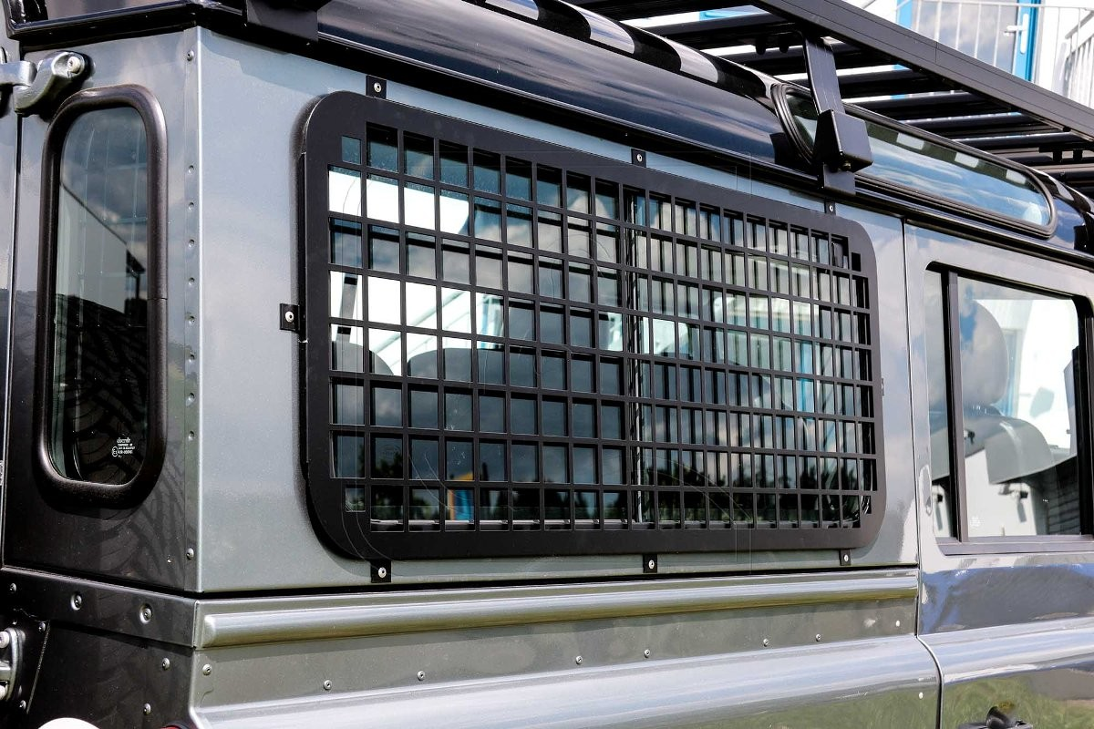 Aluminium Side Window Guard black for Land Rover Defender 90/110