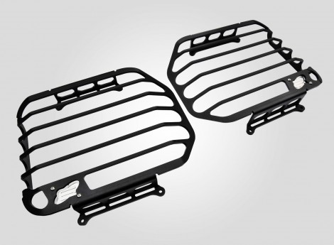 Headlight protection, for Defender with original or SVX grille, black powder coated.
