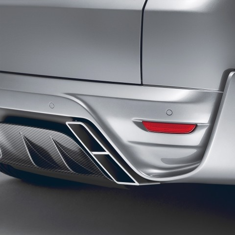 "STARTECH Rear bumper ""3"", PUR R-RIM, with integrated exhaust tips and central rear fog light in F1 design, carbon diffusor in high-gloss, not for SVR, Range Rover Sport from 2014, without tow bar"