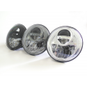 "Bi-LED Headlights 7"" with stainless steel mounting rings for Land Rover Defender"