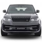 "STARTECH Front bumper ""2"", PUR R-RIM, incl. LED position/ daytime running lights and LED fog light, spoiler in high-gloss carbon fibre, for Range Rover Sport from 2014"