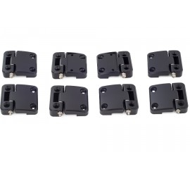Offroad Monkeys 8 Door Hinges high-strength aluminium, milled, black for Land Rover Defender 4 Doors