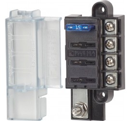 BlueSea fuse box with cover for 4 blade-type fuses