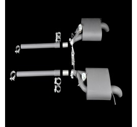 Valve guided sports exhaust for V8 5,0l SC, electronically adjustable, with 100mm diameter cromed stainless steel exhaust pipe, Range Rover Sport 2014