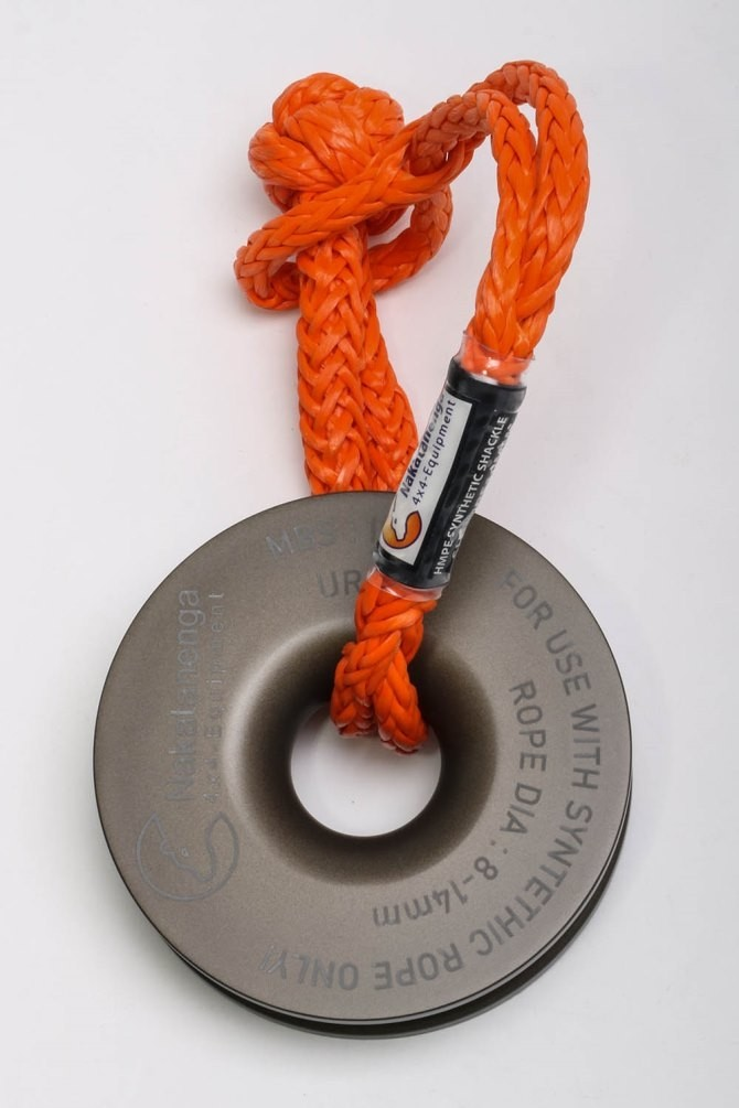 Nakatanenga heavy duty NMP snatch block for synthetic ropes, with or without soft shackle