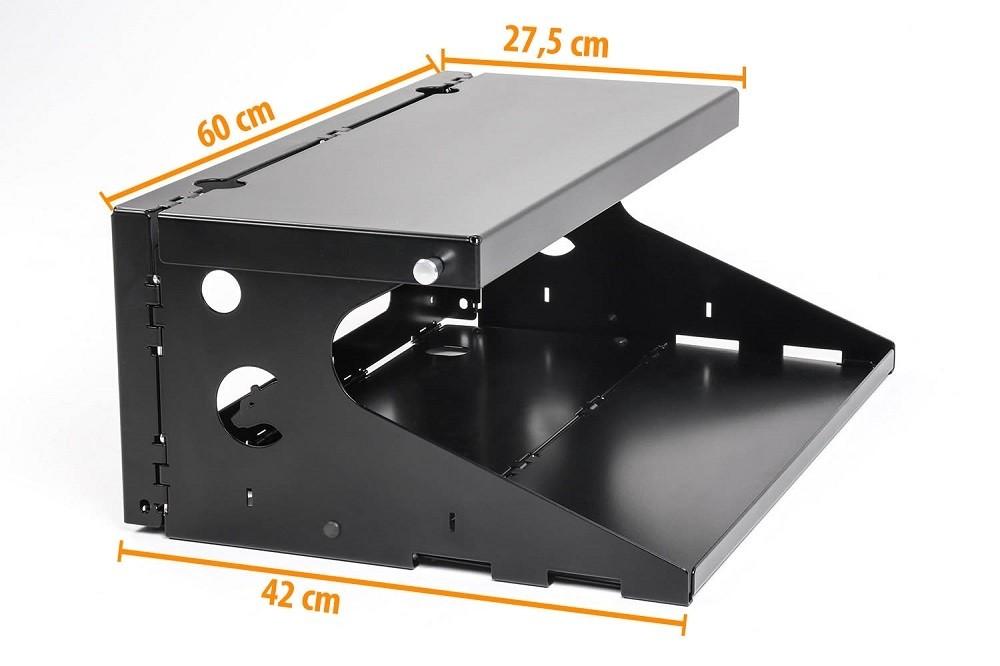 Nakatanenga two level foldable table, aluminium black