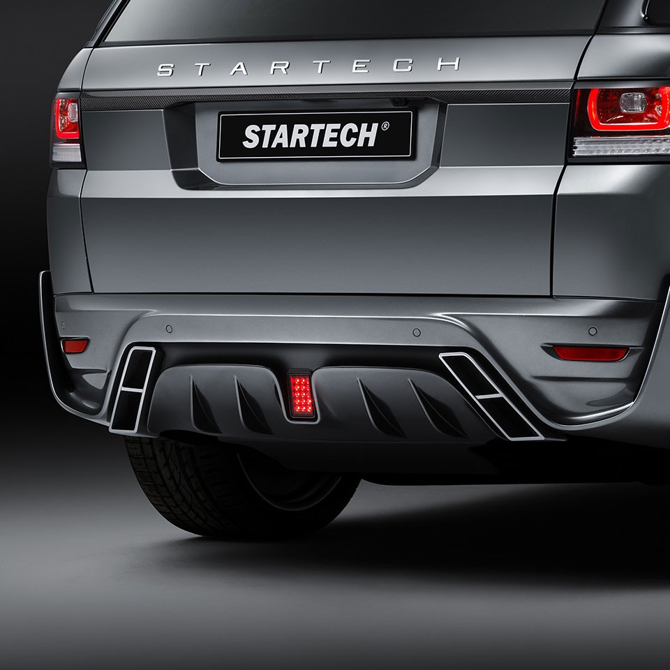 """STARTECH Rear bumper """"1"""", PUR R-RIM, with integrated exhaust tips and central rear fog light in F1 design, not for SVR, Range Rover Sport from 2014, with tow bar"""