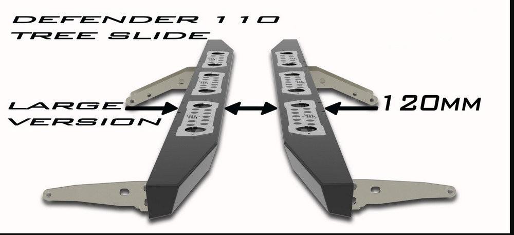 """Tree sliders for Defender 110 """" Large Version """" 120mm wide"""