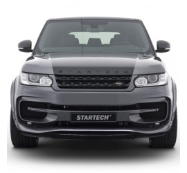 "STARTECH Front bumper ""2"", PUR R-RIM, incl. LED position/ daytime running lights and LED fog light, spoiler in high-gloss carbon fibre, for Range Rover Sport from 2014"