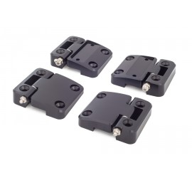 Offroad Monkeys 4 Door Hinges high-strength aluminium, milled, black for Land Rover Defender 2 Doors