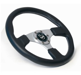 Sport steering wheel 360mm genuine leather black with silver spokes and silver stitching