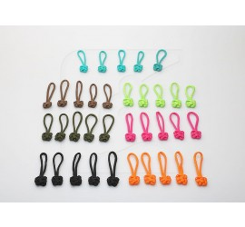 Coloured Zipper Puller extension with knot, set of 5
